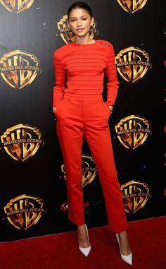 Lady in red: Zendaya, epitomized chic in a red trousers and sweater combo. Zendaya Mode, Zendaya Outfits, Zendaya Style, Celebrity Outfits, Celebrity Style, Zendaya Fashion, Zendaya Coleman, Gwyneth Paltrow, Outfits In Rot