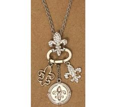 """Three distinct Fleur de lis charms & Fleur charm holder Silver plated necklace approx. 28"""" to 31"""" chain lobster clasp"""