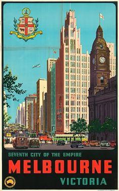 """Vintage Travel Poster Australia - Melbourne City"" Framed Art Print by MarcFugazi Melbourne Art, Melbourne Australia, Australia Travel, Brisbane, Melbourne Travel, Sydney, Poster Art, Art Deco Posters, Retro Posters"