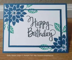 Birthday Card made with Stampin' Up!'s Flourishing Phrases, Stylized Birthday, and Bunch of Blossoms Stamp Set.  For details, go to my Thursday, May 18, 2017 blog at http://www.stampinup.net/blog/2130686/entry/flourishing_phrases_birthday