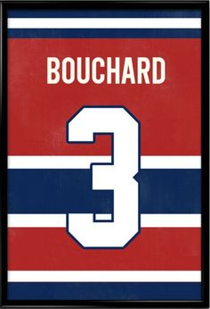 1347415df06b Emile Bouchard Number 3 Montreal Canadiens Jersey Art Print Take a look at  our Etsy store