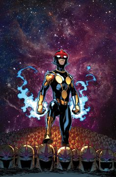 Young Nova (Sam Alexander) - Sam was trained by both Gamora and Rocket Raccoon how to properly use his helmet in order to one day live up to his father's legacy. He was eventually able to beat them both and was deemed worthy to apprehend the Watcher's task. Sam, being only 15 years old, is still a child and acts immaturely in some situations. His helmet grants him Cosmic Awareness, flight & superhuman strength.