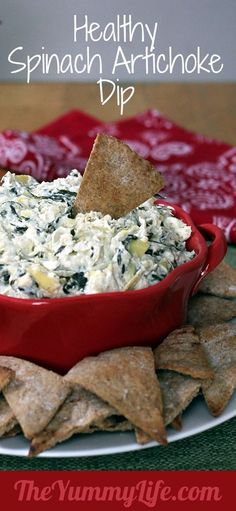 Healthy Spinach Artichoke Dip. An easy, creamy, low calorie makeover in the slow cooker or oven. - Click image to find more popular food & drink Pinterest pins.
