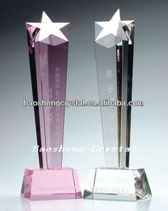 Material:K9 crystal,   Size:9*9*22cm,  Feature:glass star award   Service:Credible quality and delivery