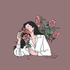 (189)흥얼흥얼 . . #illust #illustration #drawing #doodle #daily #dailylook #character #fashionillustration #graphic #rose #flower #artwork #イラスト #일러스트 #그림 #드로잉 #낙서 #일상 #손그림 #작업 #데일리룩 #꽃 #장미 #