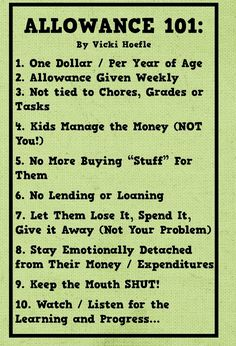 I like to give $ for chores because it teaches the kids the importance of…