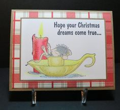 """Christmas Dreams:  Stamps - Stampabilities House Mouse, """"Mice Warm Dreams"""" and Stampa Rosa Christmas Dreams sentiment. Frames cut with Simon Says Stamp """"Frames"""" die. Colored with Prismacolor colored pencils."""