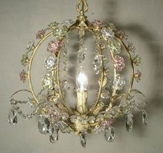 Small Shabby Chic Chandeliers | chandelier table lamp lighting crystal craft decoration shabby chic ...different shades of crystal flowers
