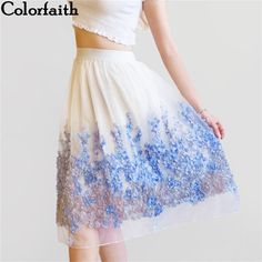 74be8c1421 2017 New Puff Women Organza Tulle Skirt White faldas High waist Midi  Appliques Floral Sakter Skirt
