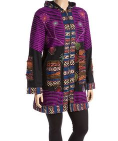 Loving this Black & Purple Embroidered Long Hooded Jacket - Plus on #zulily! #zulilyfinds