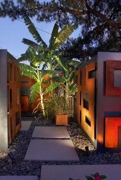 rectangular pavers and wall sculptures