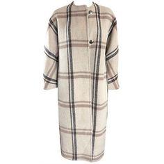 Vintage JAMES GALANOS 1960's mohair wool blanket plaid coat Large *loose fit*