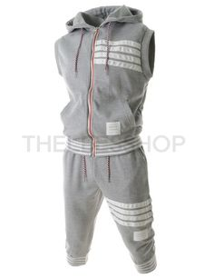 (EB7S08-GRAY) Mens Slim Semi Baggy Stripe Patched Hooded Training Vest Pants Set