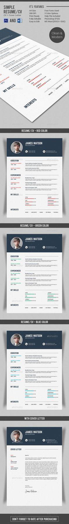 Resume / CV Creative, Template and Creative resume