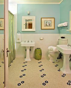 vintage style, hex floor tiles, mirrored door, integrated shelf under medicine cabinets