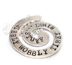 Wibbly Wobbly Timey Wimey - Sterling Silver Hand Stamped Spiral Pendant on Sterling Silver Chain Hand Stamped Jewelry, Handmade Jewelry, Doctor Who Necklace, Sterling Silver Chains, Spiral, Washer Necklace, Pendants, Handmade Jewellery, Hang Tags