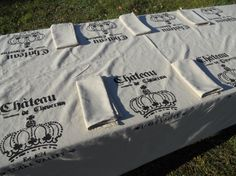 Stenciled Tablecloth French Script by GreenMountainBoHo on Etsy, $100.00