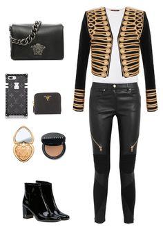 """Party Monster"" by davidbuenob on Polyvore featuring Givenchy, Yves Saint Laurent, MaxMara, Balmain, Versace, Prada, Too Faced Cosmetics, Bobbi Brown Cosmetics, men's fashion y menswear"