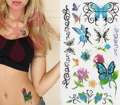Sexy Lower Back, Shoulder, Neck, Arm Temporary Tattoos - Roses & Butterfly Tattoo by S $2.59. Add one to your order and give them to somebody you know or would like to know. Or wear them and spice things up a little.. Package include: 1 sheet of temporary tattoo. Waterproof. They will not wash off and will last for 3 days. Removes with baby oil.. Precut tattoos dab on with water in seconds, brush with your skin-toned face powder to set.. Size: 8 x 4 inches wide and ta...