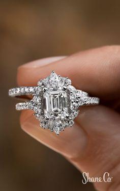 Radiant Engagement Rings, Big Wedding Rings, Baguette Engagement Ring, Square Engagement Rings, Beautiful Wedding Rings, Dream Engagement Rings, Wedding Rings Vintage, Halo Diamond Engagement Ring, Engagement Rings White Gold