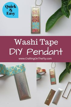 Washi Tape Pendant DIY - Create jewelry with your washi tape quick and easy tutorial to make your own custom jewelry by Crafting on the Fly jewelryframes Duck Tape Crafts, Washi Tape Crafts, Vbs Crafts, Fun Diy Crafts, Crafts To Make, Paper Crafts, Washi Tape Uses, Duct Tape, Masking Tape