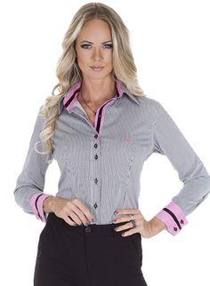 camisa social listrada principessa ana claudia Satin Blouses, Shirt Blouses, Button Up Shirt Womens, Pretty Shirts, Shirt Refashion, Formal Shirts, Work Looks, Blouse Designs, Dressings