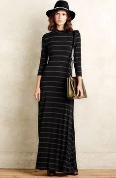 NWT Anthropologie Sunday In Brooklyn black gray Stretch Stripe Maxi Dress XS #SundayinBrooklyn #Maximockturtlemaxistretchdress #versatile