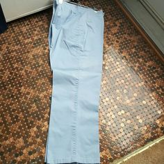 Talbots sky blue jeans There's white splash marks with the worst in the picture.  I never wash clothes together so I don't know why it's there.  I have lost weight and they are to big.  Not sure if they can be dyed.  Make me an offer. talbots  Jeans Flare & Wide Leg