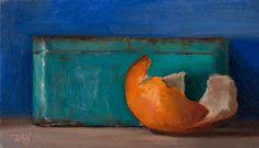 Still Life with Blue Tin and Orange Peel by Julian Merrow-Smith