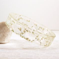 Real baby's breath resin bracelet - white flower bracelet - baby's breath bangle - real plant jewelry - woodland jewelry - wedding jewelry - pinned by pin4etsy.com