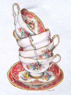Stack of vintage Paragon teacups - Illustration by Alexandra Nea Tea Cup Art, Tea Cups, Coffee Cups, Vintage Tea, Teapots And Cups, Decoupage Paper, Retro, Afternoon Tea, Tea Time