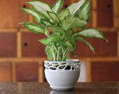 White stoneware nature pattern inspired grid ceramic plant pot