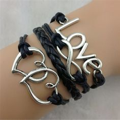 Want! Love this Simple Stylish Infinite Love Heart Layered Bracelet For Women #Hearts #Love #Infinity #Bracelet #Jewelry #Infinite_Love #Black_Leather #Wrap_Bracelet #Boho_Chic #Accessories
