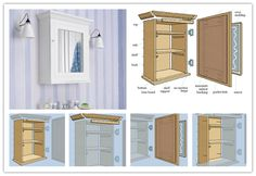 How to build a wall mount medicine storage cabinet unit with mirror step by step DIY tutorial instructions