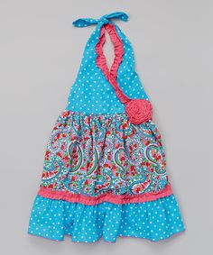 Take a look at the Turquoise Polka Dot Halter Dress - Infant, Toddler & Girls on #zulily today!