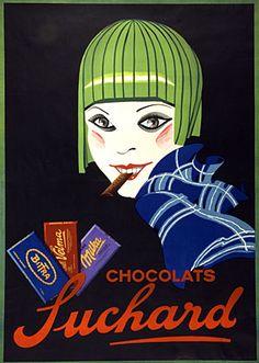 ¤ vintage ad 1927 for Suchard chocolate.«Bittra, Velma, Milka, chocolats Suchard», affiche anonyme, 1927 (Fonds Suchard, Musée d'art et d'histoire, Neuchâtel/Photo Stefano Iori)