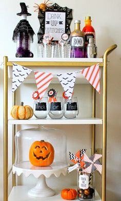 A boo-zy Halloween bar cart