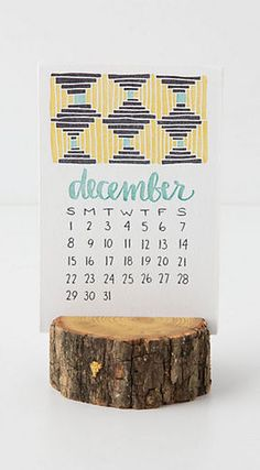 Wood Stump Calendar from Anthropologie-- totally doable. Eclectic Desks, Wood Stumps, Reclaimed Wood Desk, Desk Calendars, Desktop Calendar, Office Accessories, Business Card Holders, Unique Furniture, Letterpress