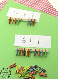 Looking for a fun Addition Activity for Grade 1 and Kindergarten? Lots of fine motor practice too in this easy to put together activity. Addition Activities, Addition Worksheets, Kindergarten Worksheets, Math Games, Toddler Activities, Preschool Activities, Montessori, Grande Section, Free Preschool