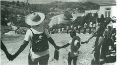 Hands around Barbados. The first human chain link was formed on November 30, 1979 and drew some 100 000 persons together as they sang 'Let's join hands and show we love Barbados'.