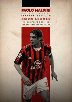 Football Legends on Behance - Paolo Maldini - A.C. Milan