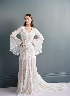 Bell Sleeve Boho Wedding Dress | Boho Lave Bridal Gown