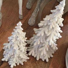 $13, $18 a little something with sparkle. Adorable white shimmer trees. #talorton #instagood #intheshopnow #homedecor #holidaydecorations #christmasideas #christmasdecorations #trees #decorate #interiors #home #accessories #carecardok