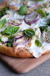 Chicken Pesto Pizza...now I have something good to make with all the basil growing in my garden!!  I'll be making my own pesto for this recipe!