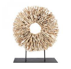 """Round Tea Tree Sculpture on Stand. 22.5H x 19.5W """"..."""