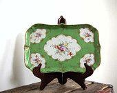 Antique Porcelain Floral Dresser Tray, Hand Painted Green and Gold, Nippon Porcelain, NPSK, Victorian Decor