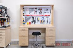 Learn how to build a DIY Garage Workbench with storage. A small footprint saves space and adds shop storage and organization. Video tutorial with plans!