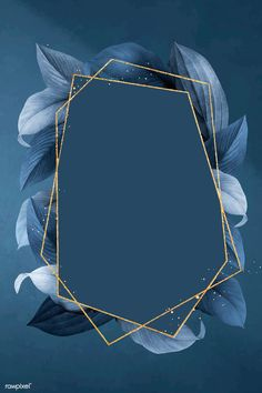 Hexagon foliage frame on blue background vector premium image by busbus