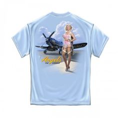 American Beauties Angels F4U Corsair T-shirt, Sexy Pin-Up Girl in Lingerie