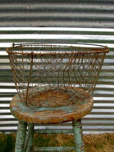 Here's Another Old Vintage Wire Basket by PocketFullOfHeirloom